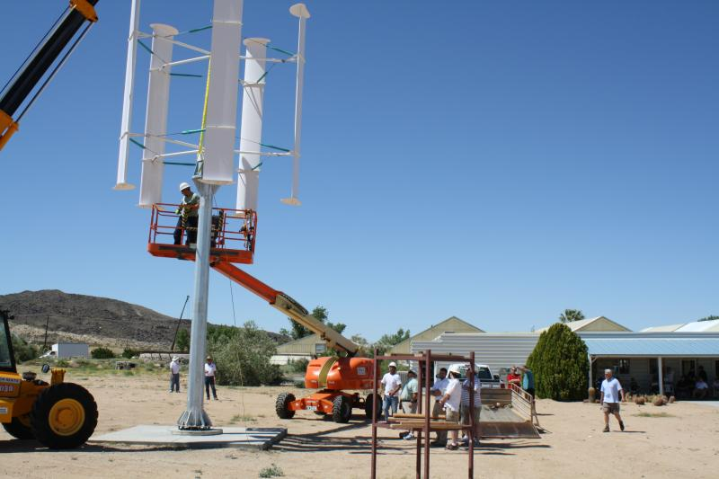 Installing a WePower Falcon vertical axis wind turbine in Landers CA