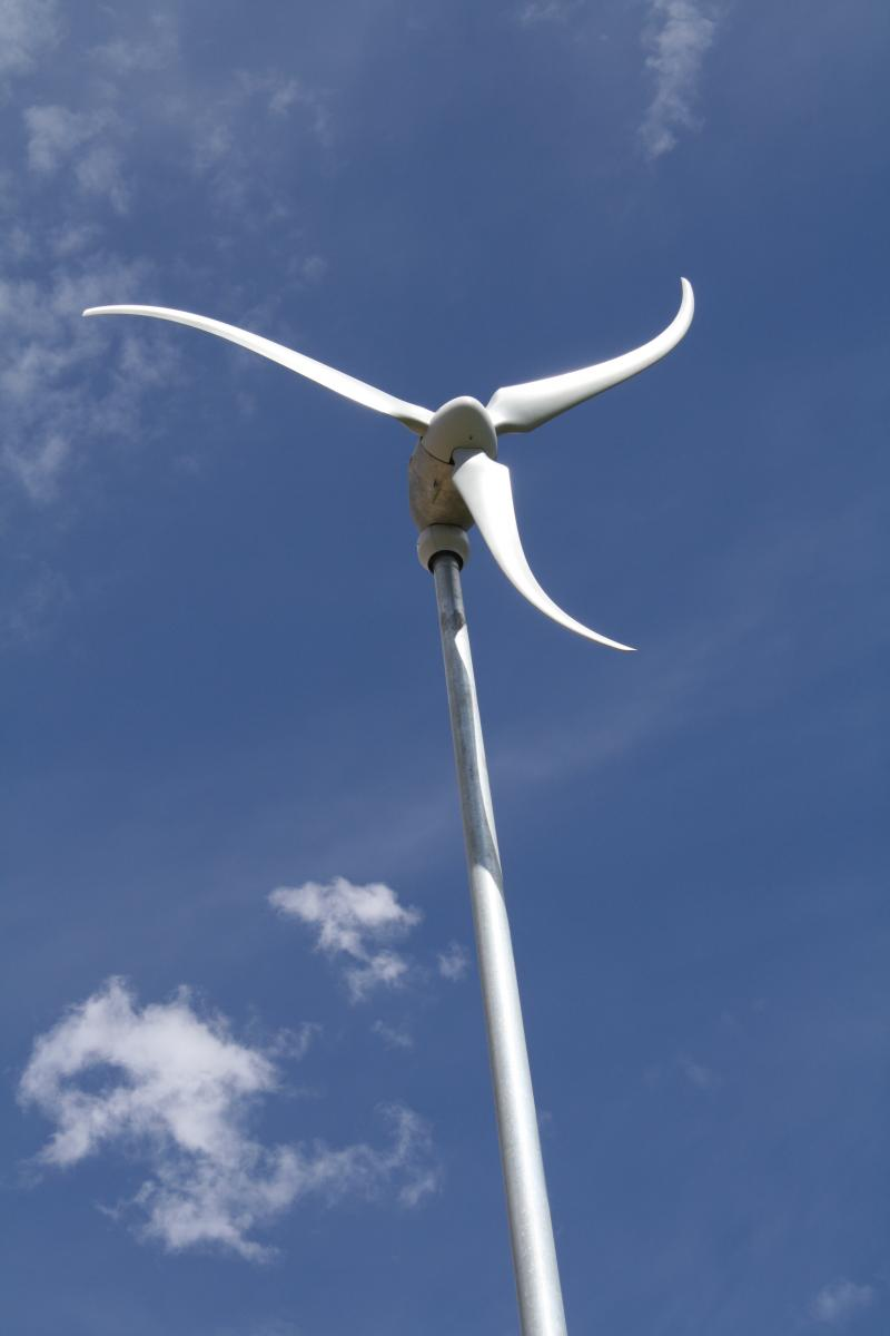 SkyStream 3.7 wind turbine installed at the home of Jeanne Buell in Worley, ID