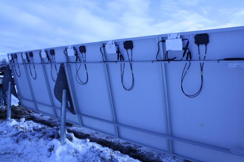 A row of solar panels with Enphase Micro-Inverters installed - bring on the sun!